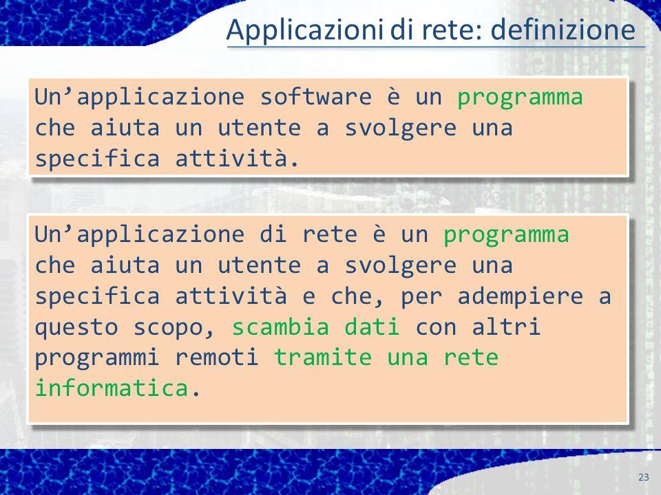 Applicazioni di rete: definizione 23 Unapplicazione software è un programma che aiuta un utente a svolgere una specifica attività.