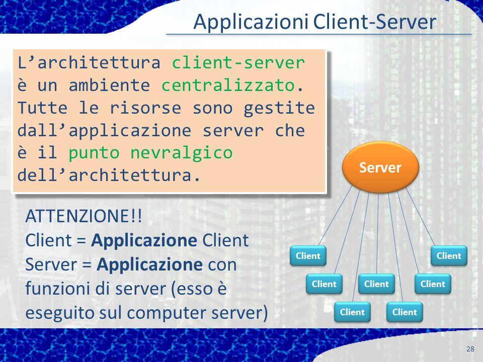 28 Applicazioni Client-Server Client Larchitettura client-server è un ambiente centralizzato. Tutte le risorse sono gestite dallapplicazione server ch