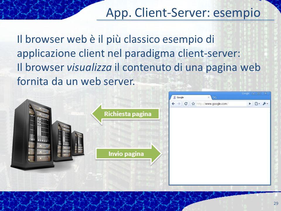 App. Client-Server: esempio 29 Il browser web è il più classico esempio di applicazione client nel paradigma client-server: Il browser visualizza il c