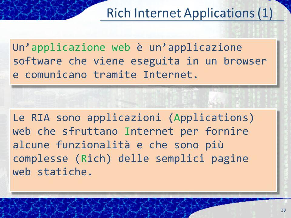 Rich Internet Applications (1) 38 Le RIA sono applicazioni (Applications) web che sfruttano Internet per fornire alcune funzionalità e che sono più complesse (Rich) delle semplici pagine web statiche.
