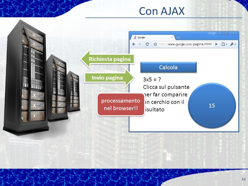 Con AJAX 44 Richiesta pagina Invio pagina pagina.html Calcola 3x5 = .