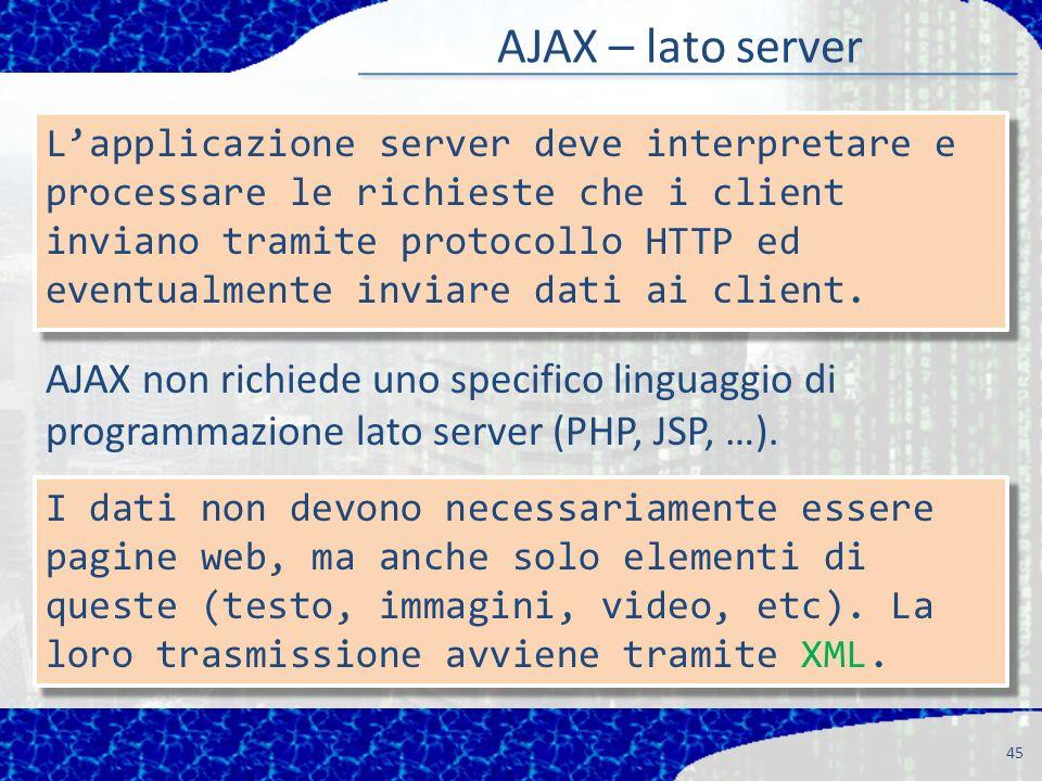 AJAX – lato server 45 Lapplicazione server deve interpretare e processare le richieste che i client inviano tramite protocollo HTTP ed eventualmente inviare dati ai client.