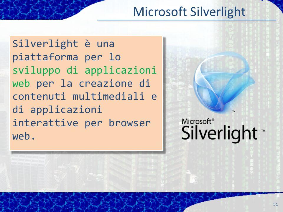 51 Silverlight è una piattaforma per lo sviluppo di applicazioni web per la creazione di contenuti multimediali e di applicazioni interattive per browser web.