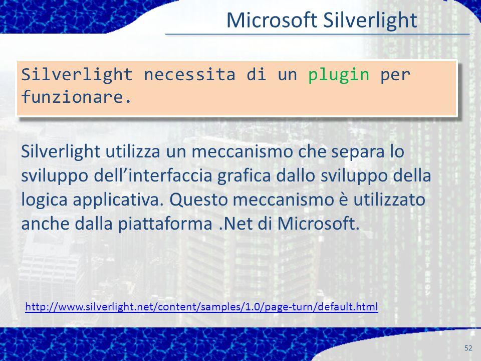 52 Silverlight necessita di un plugin per funzionare.