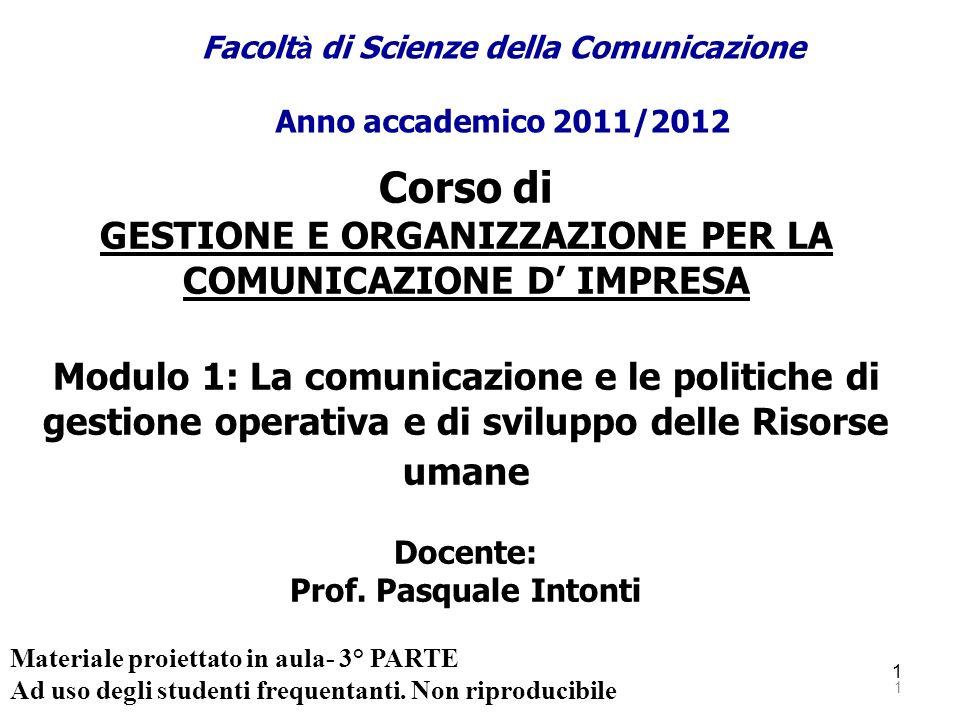 1 1 Corso di GESTIONE E ORGANIZZAZIONE PER LA COMUNICAZIONE D IMPRESA Modulo 1: La comunicazione e le politiche di gestione operativa e di sviluppo de