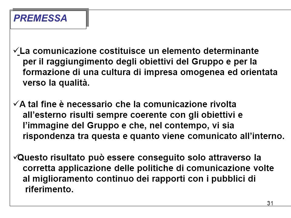 31 La comunicazione costituisce un elemento determinante per il raggiungimento degli obiettivi del Gruppo e per la formazione di una cultura di impres