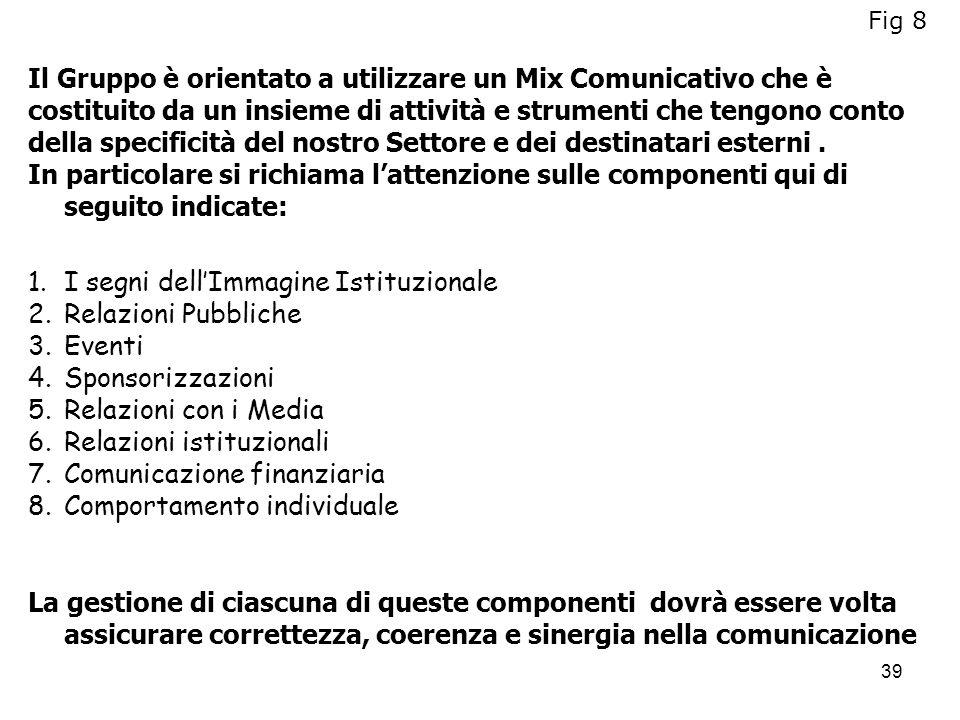 39 Il Gruppo è orientato a utilizzare un Mix Comunicativo che è costituito da un insieme di attività e strumenti che tengono conto della specificità d