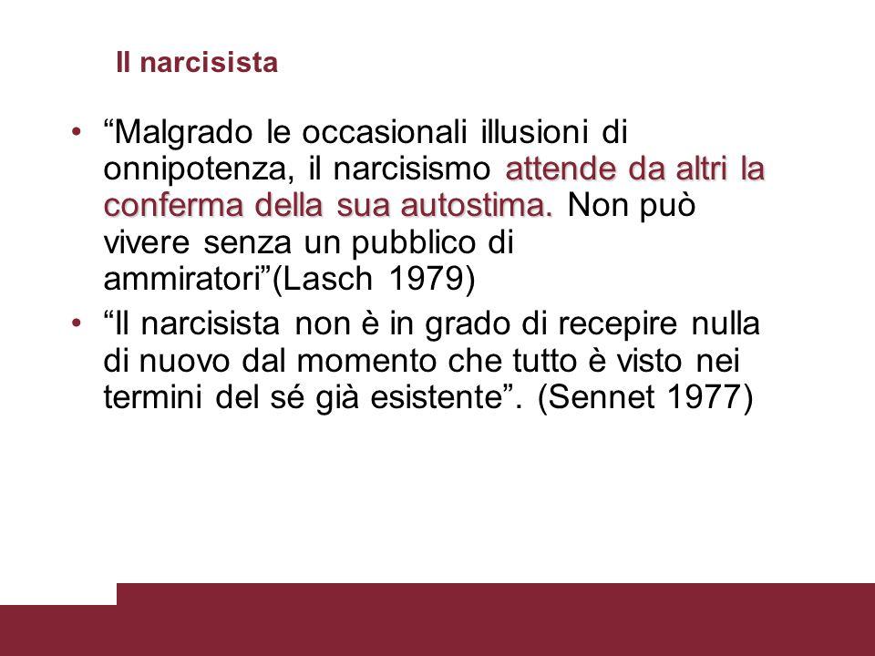 Il narcisista attende da altri la conferma della sua autostima.Malgrado le occasionali illusioni di onnipotenza, il narcisismo attende da altri la con