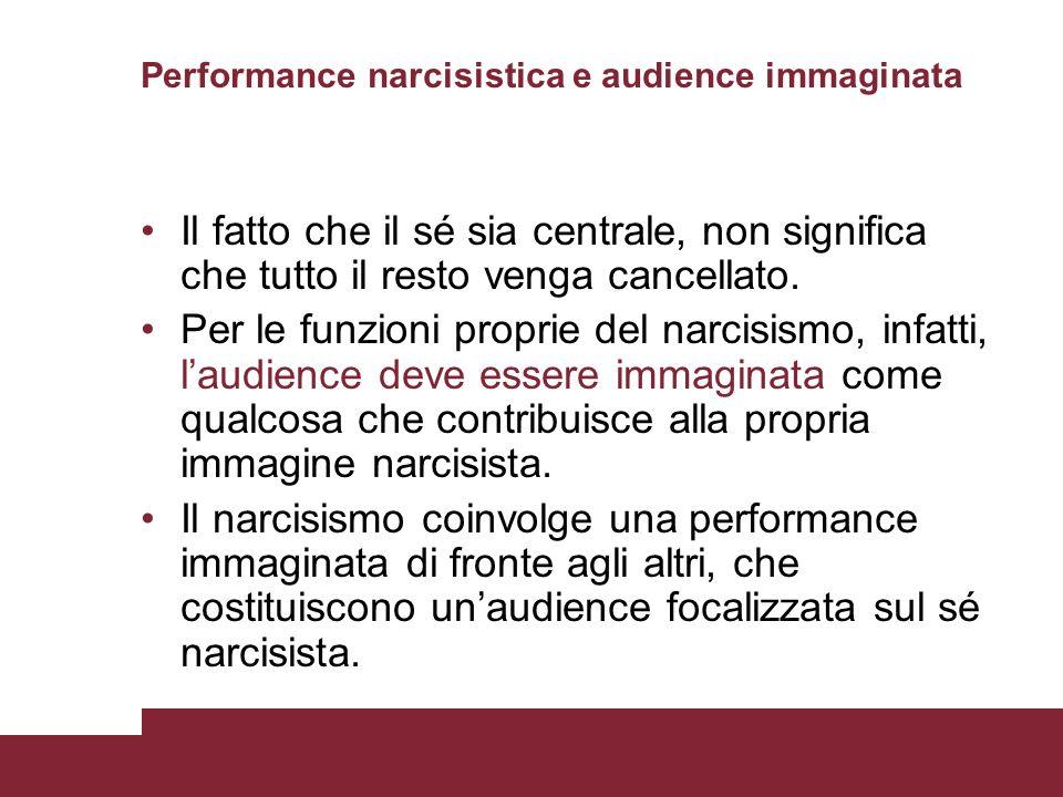 Performance narcisistica e audience immaginata Il fatto che il sé sia centrale, non significa che tutto il resto venga cancellato. Per le funzioni pro