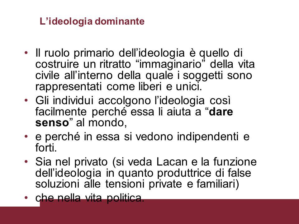Lideologia dominante Il ruolo primario dellideologia è quello di costruire un ritratto immaginario della vita civile allinterno della quale i soggetti