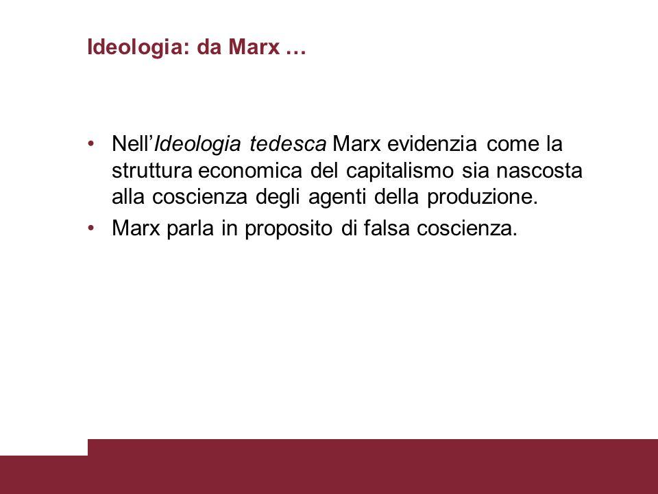 Ideologia: da Marx … NellIdeologia tedesca Marx evidenzia come la struttura economica del capitalismo sia nascosta alla coscienza degli agenti della p
