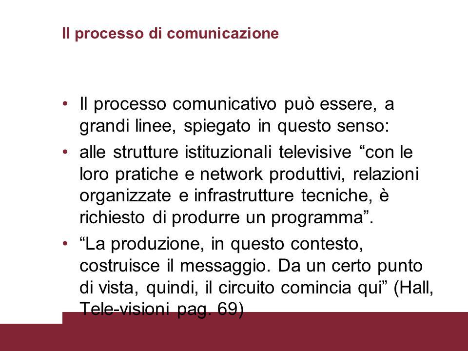 Il processo di comunicazione Il processo comunicativo può essere, a grandi linee, spiegato in questo senso: alle strutture istituzionali televisive co