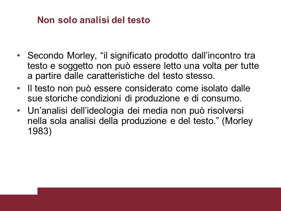 Non solo analisi del testo Secondo Morley, il significato prodotto dallincontro tra testo e soggetto non può essere letto una volta per tutte a partir