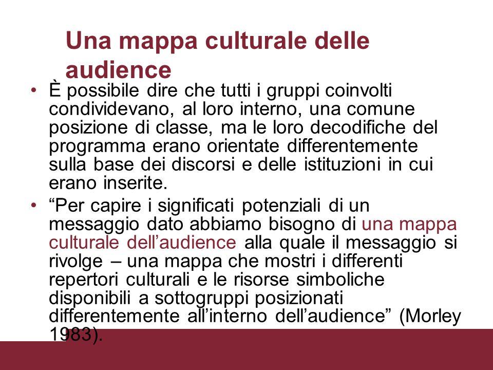 Una mappa culturale delle audience È possibile dire che tutti i gruppi coinvolti condividevano, al loro interno, una comune posizione di classe, ma le