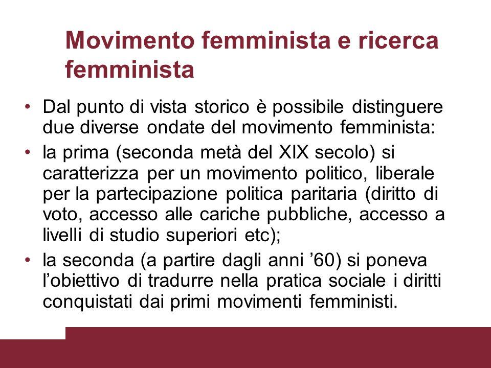 Movimento femminista e ricerca femminista Dal punto di vista storico è possibile distinguere due diverse ondate del movimento femminista: la prima (se