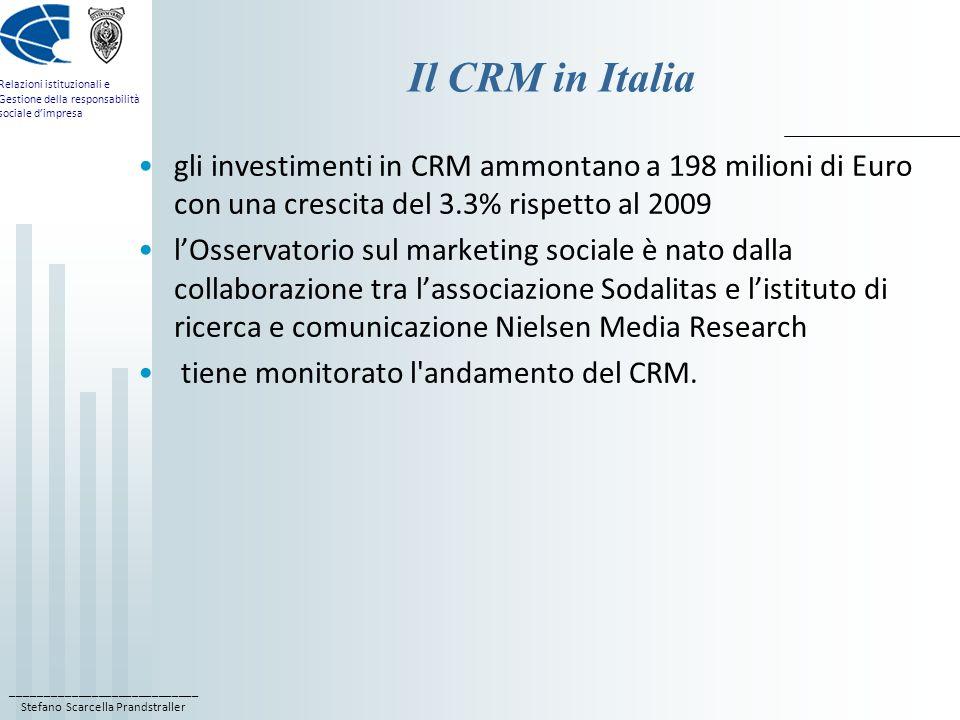 ____________________________ Stefano Scarcella Prandstraller Relazioni istituzionali e Gestione della responsabilità sociale dimpresa Il CRM in Italia