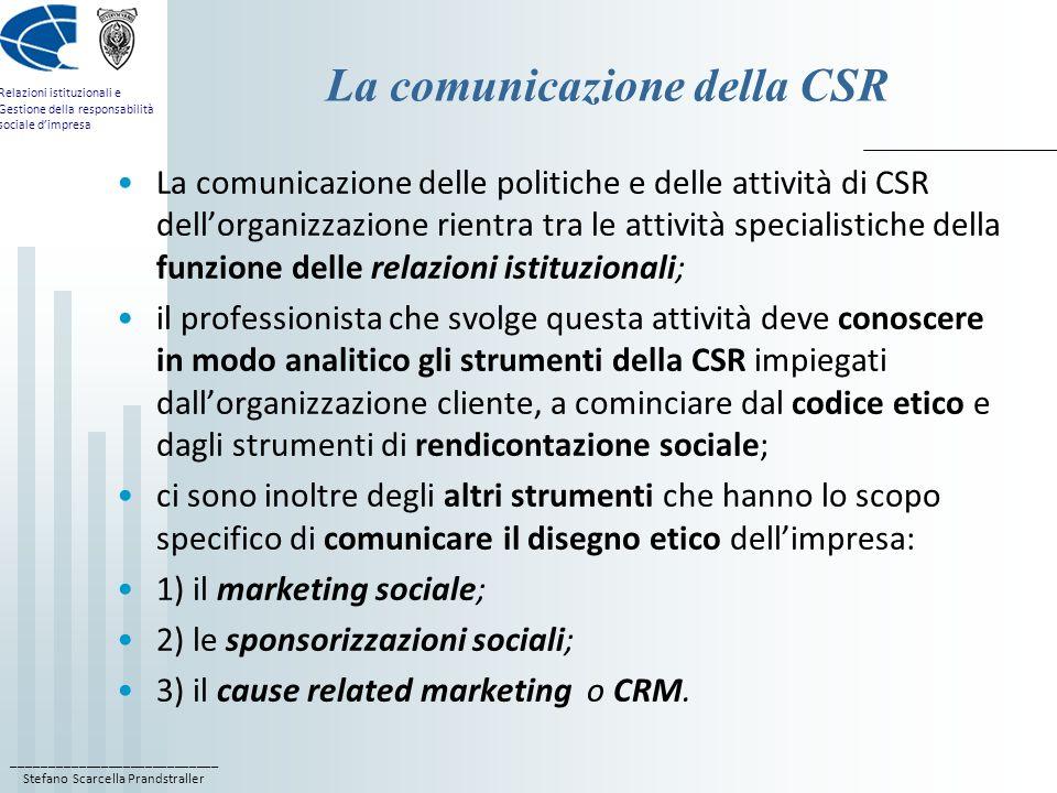 ____________________________ Stefano Scarcella Prandstraller Relazioni istituzionali e Gestione della responsabilità sociale dimpresa La comunicazione