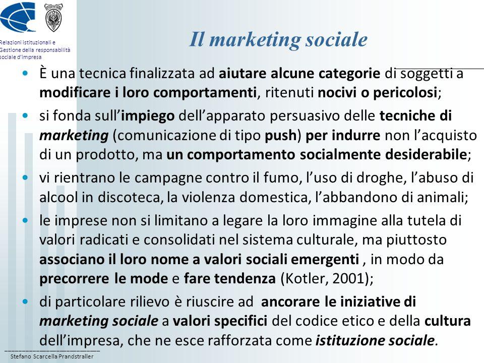 ____________________________ Stefano Scarcella Prandstraller Relazioni istituzionali e Gestione della responsabilità sociale dimpresa Il marketing soc