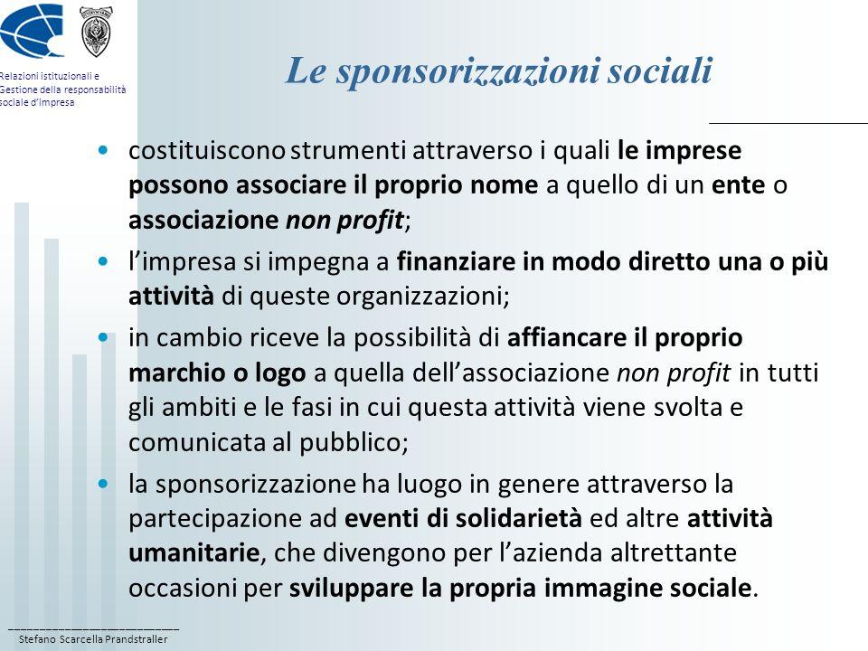 ____________________________ Stefano Scarcella Prandstraller Relazioni istituzionali e Gestione della responsabilità sociale dimpresa Le sponsorizzazi