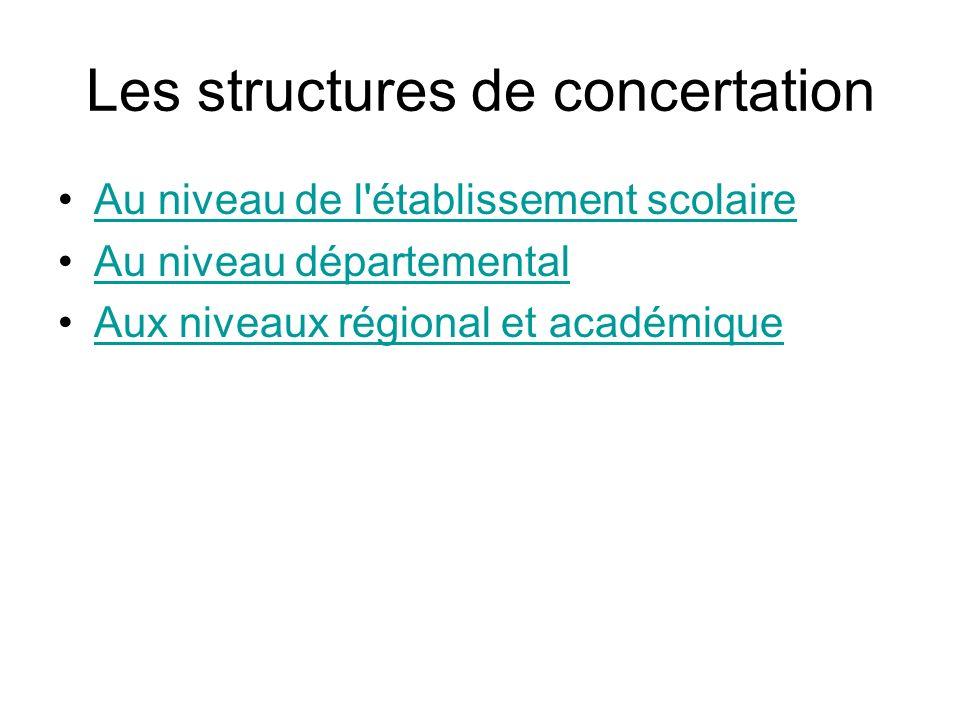 Les structures de concertation Au niveau de l'établissement scolaire Au niveau départemental Aux niveaux régional et académique