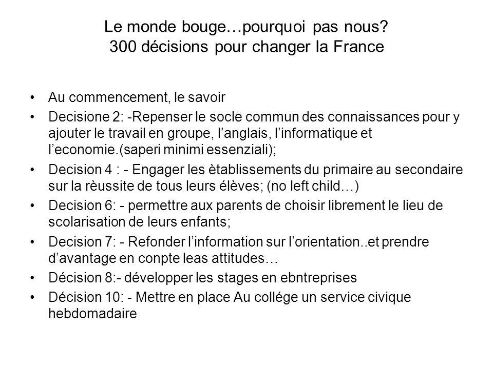 Le monde bouge…pourquoi pas nous? 300 décisions pour changer la France Au commencement, le savoir Decisione 2: -Repenser le socle commun des connaissa