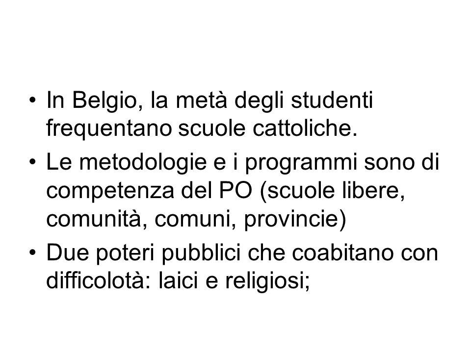 In Belgio, la metà degli studenti frequentano scuole cattoliche. Le metodologie e i programmi sono di competenza del PO (scuole libere, comunità, comu