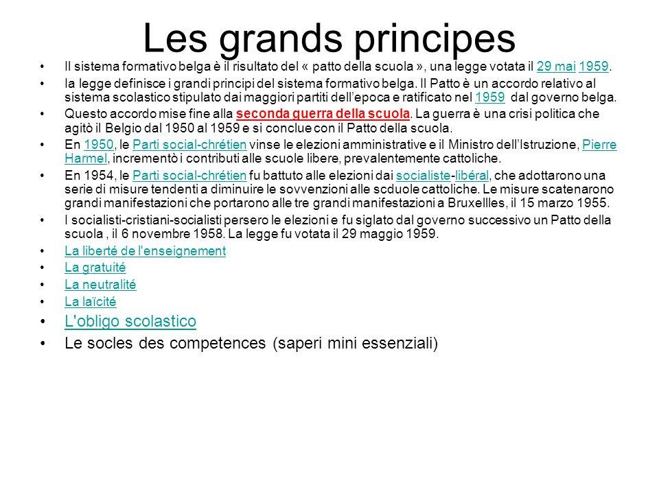 Les grands principes Il sistema formativo belga è il risultato del « patto della scuola », una legge votata il 29 mai 1959.29 mai1959 Ia legge definisce i grandi principi del sistema formativo belga.