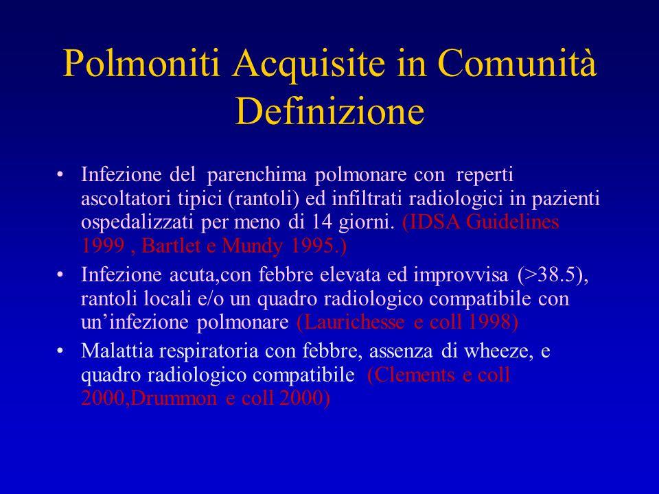 Polmoniti Acquisite in Comunità Definizione Infezione del parenchima polmonare con reperti ascoltatori tipici (rantoli) ed infiltrati radiologici in p