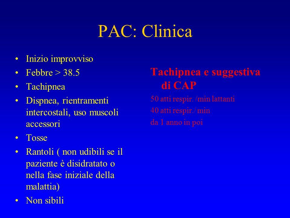 PAC: Clinica Inizio improvviso Febbre > 38.5 Tachipnea Dispnea, rientramenti intercostali, uso muscoli accessori Tosse Rantoli ( non udibili se il paz