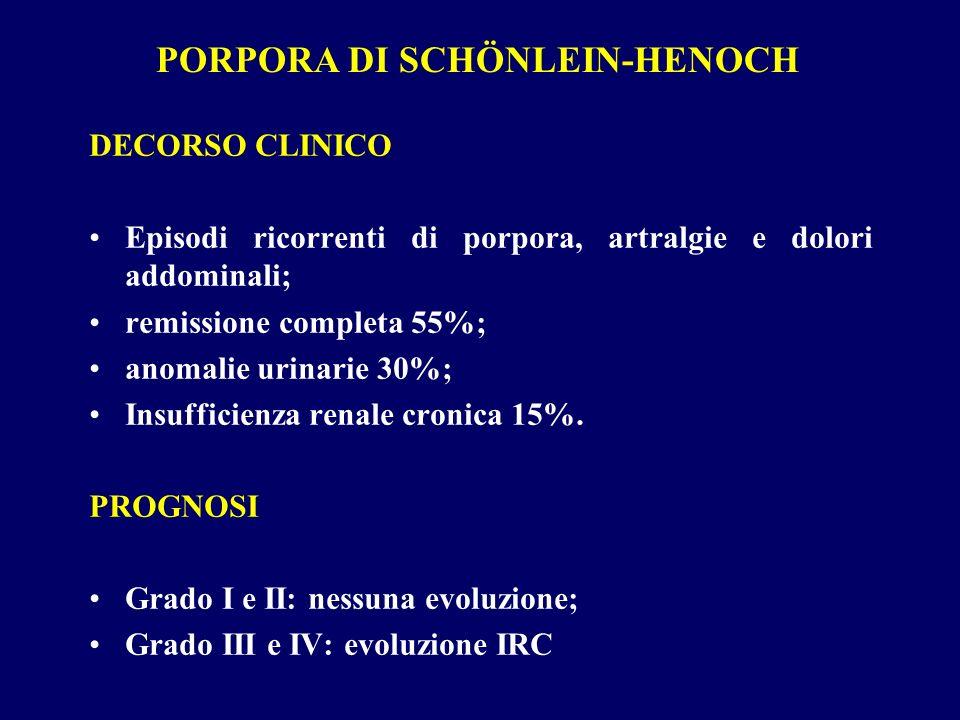 DECORSO CLINICO Episodi ricorrenti di porpora, artralgie e dolori addominali; remissione completa 55%; anomalie urinarie 30%; Insufficienza renale cro