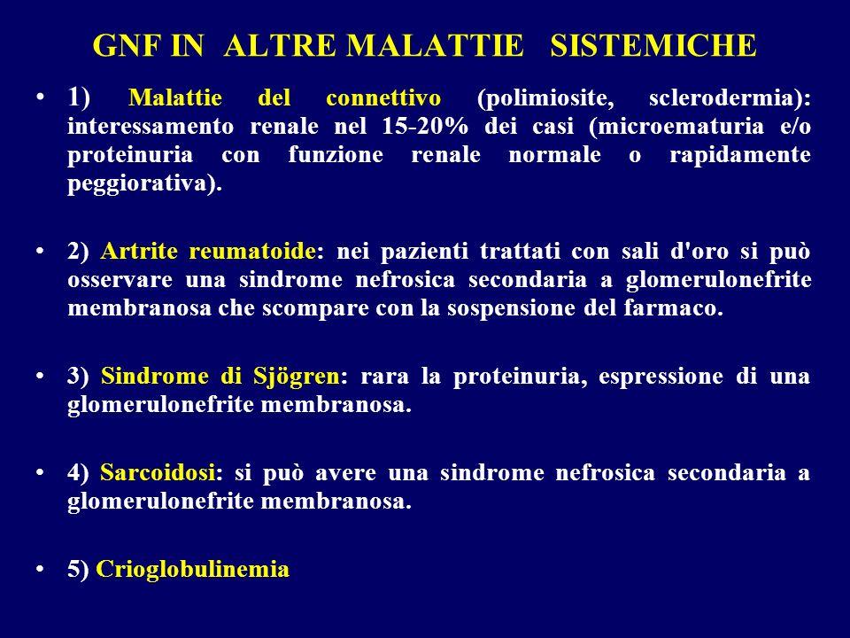 GNF IN ALTRE MALATTIE SISTEMICHE 1) Malattie del connettivo (polimiosite, sclerodermia): interessamento renale nel 15-20% dei casi (microematuria e/o