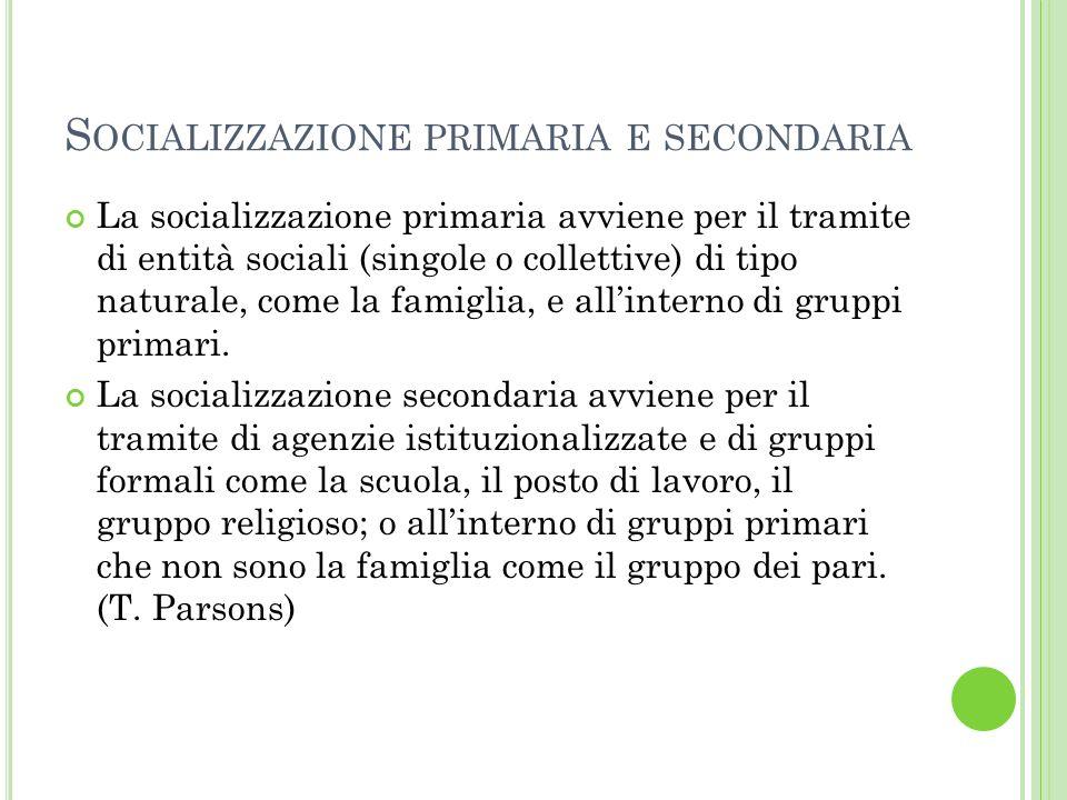 S OCIALIZZAZIONE PRIMARIA E SECONDARIA La socializzazione primaria avviene per il tramite di entità sociali (singole o collettive) di tipo naturale, come la famiglia, e allinterno di gruppi primari.