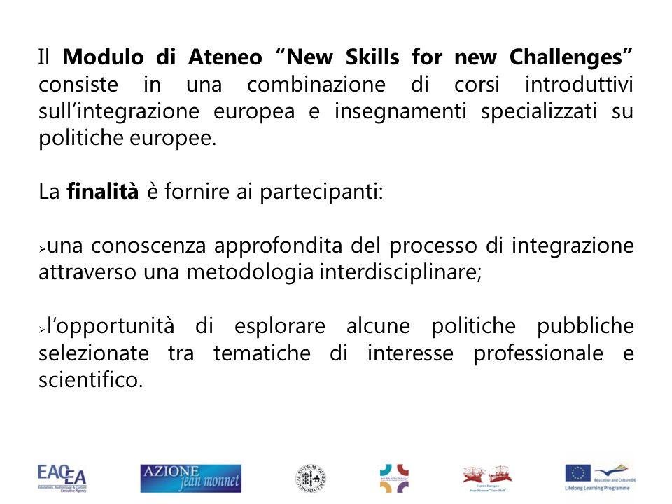 Il Modulo di Ateneo New Skills for new Challenges consiste in una combinazione di corsi introduttivi sullintegrazione europea e insegnamenti specializ
