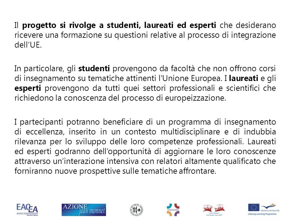 Il progetto si rivolge a studenti, laureati ed esperti che desiderano ricevere una formazione su questioni relative al processo di integrazione dellUE