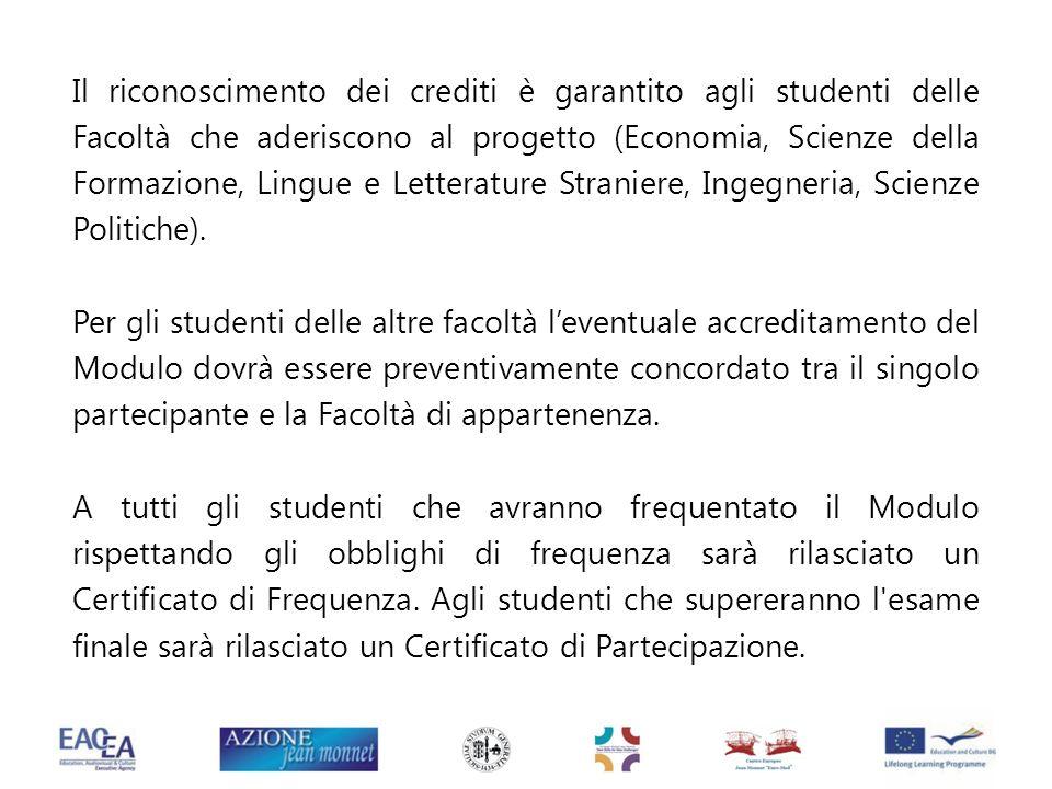 Il riconoscimento dei crediti è garantito agli studenti delle Facoltà che aderiscono al progetto (Economia, Scienze della Formazione, Lingue e Lettera
