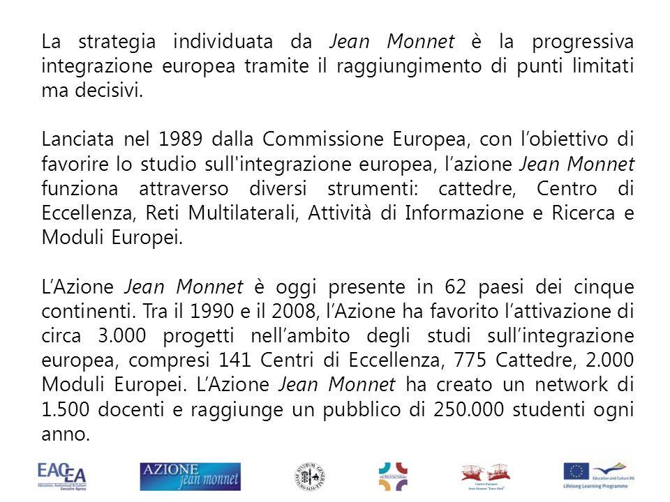 La strategia individuata da Jean Monnet è la progressiva integrazione europea tramite il raggiungimento di punti limitati ma decisivi. Lanciata nel 19