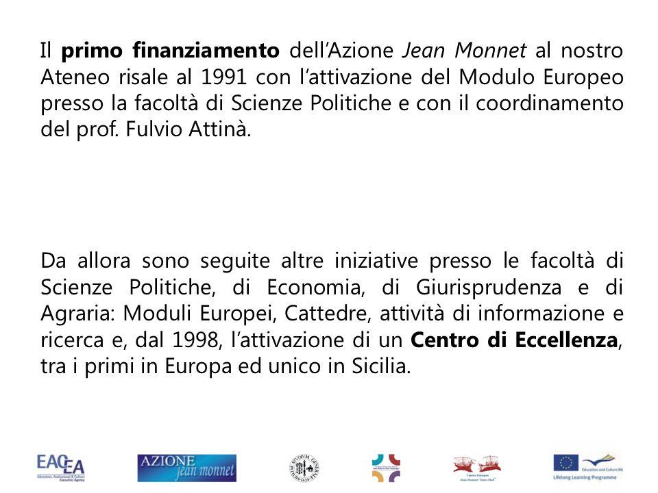 Il primo finanziamento dellAzione Jean Monnet al nostro Ateneo risale al 1991 con lattivazione del Modulo Europeo presso la facoltà di Scienze Politic