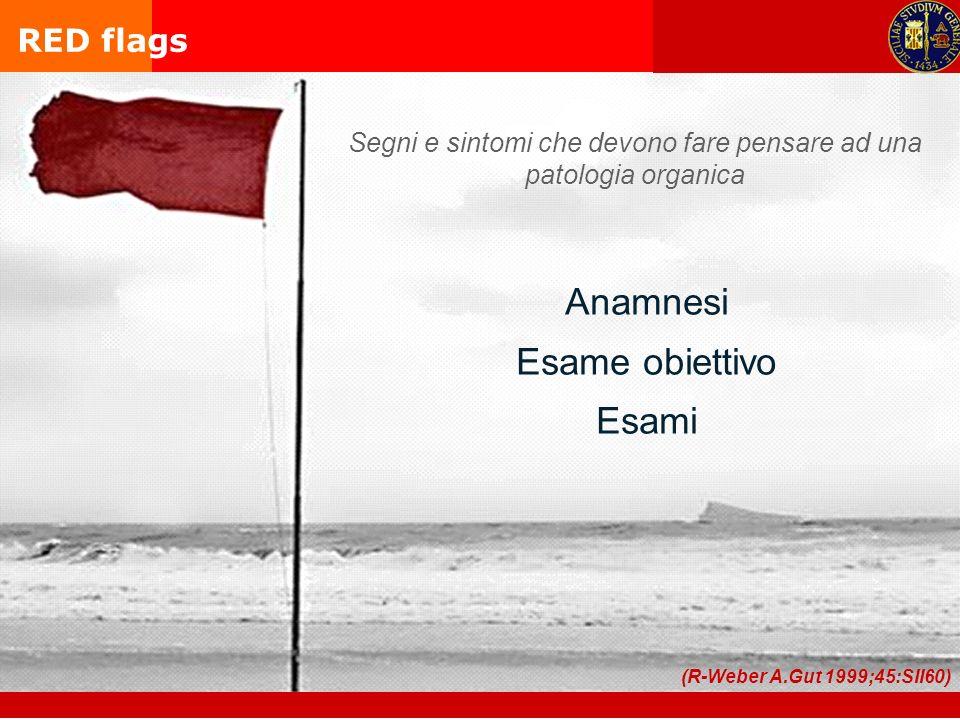 Anamnesi Esame obiettivo Esami (R-Weber A.Gut 1999;45:SII60) RED flags Segni e sintomi che devono fare pensare ad una patologia organica