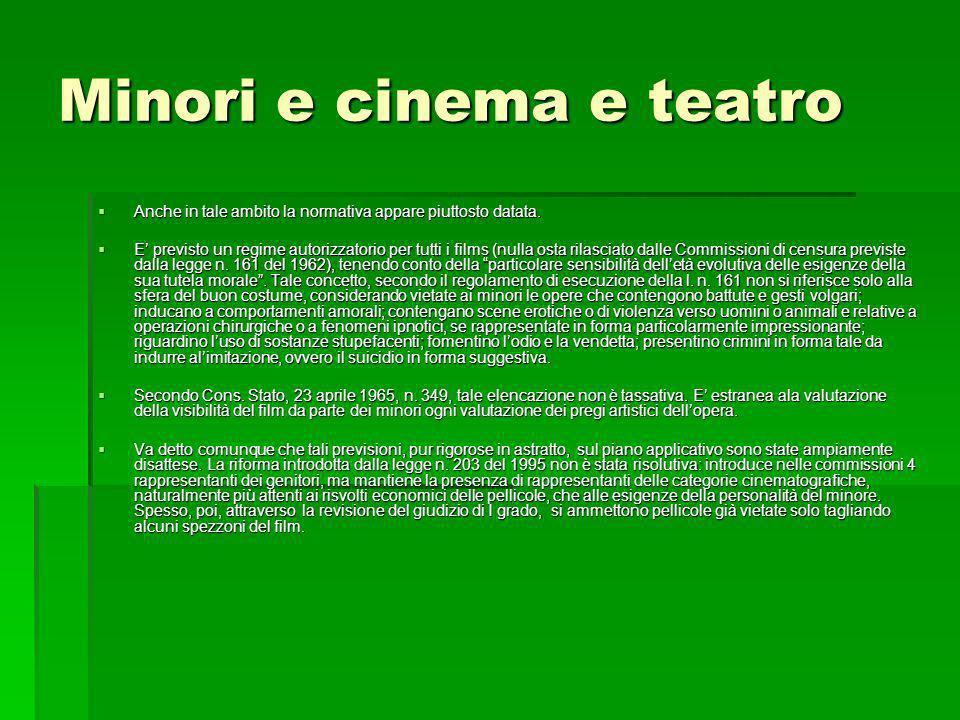 Minori e cinema e teatro Anche in tale ambito la normativa appare piuttosto datata. Anche in tale ambito la normativa appare piuttosto datata. E previ