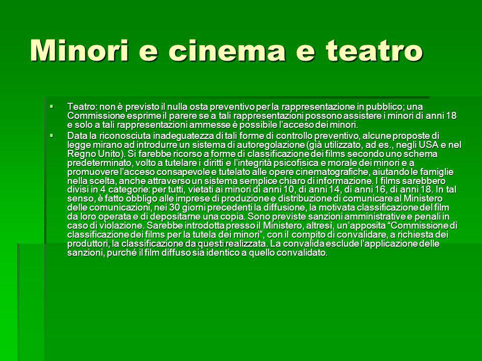 Minori e cinema e teatro Teatro: non è previsto il nulla osta preventivo per la rappresentazione in pubblico; una Commissione esprime il parere se a t
