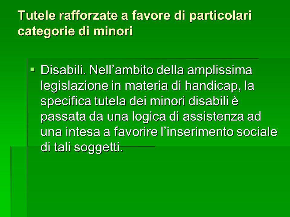 Tutele rafforzate a favore di particolari categorie di minori Disabili. Nellambito della amplissima legislazione in materia di handicap, la specifica