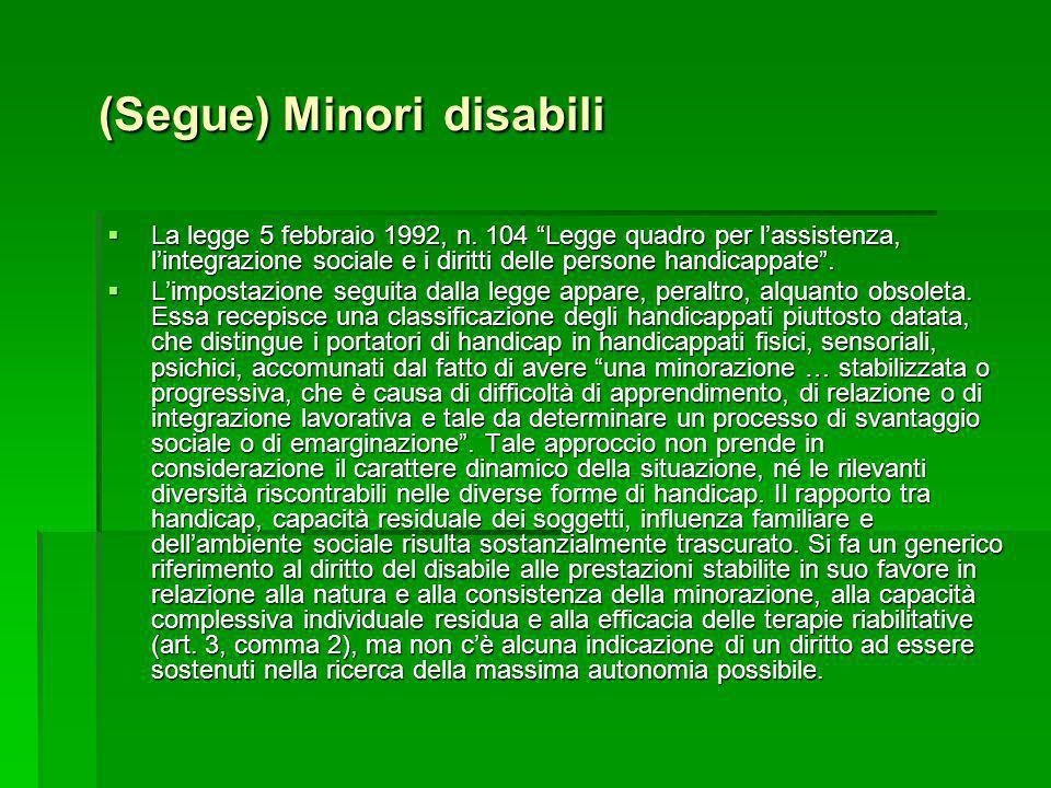 (Segue) Minori disabili La legge 5 febbraio 1992, n. 104 Legge quadro per lassistenza, lintegrazione sociale e i diritti delle persone handicappate. L