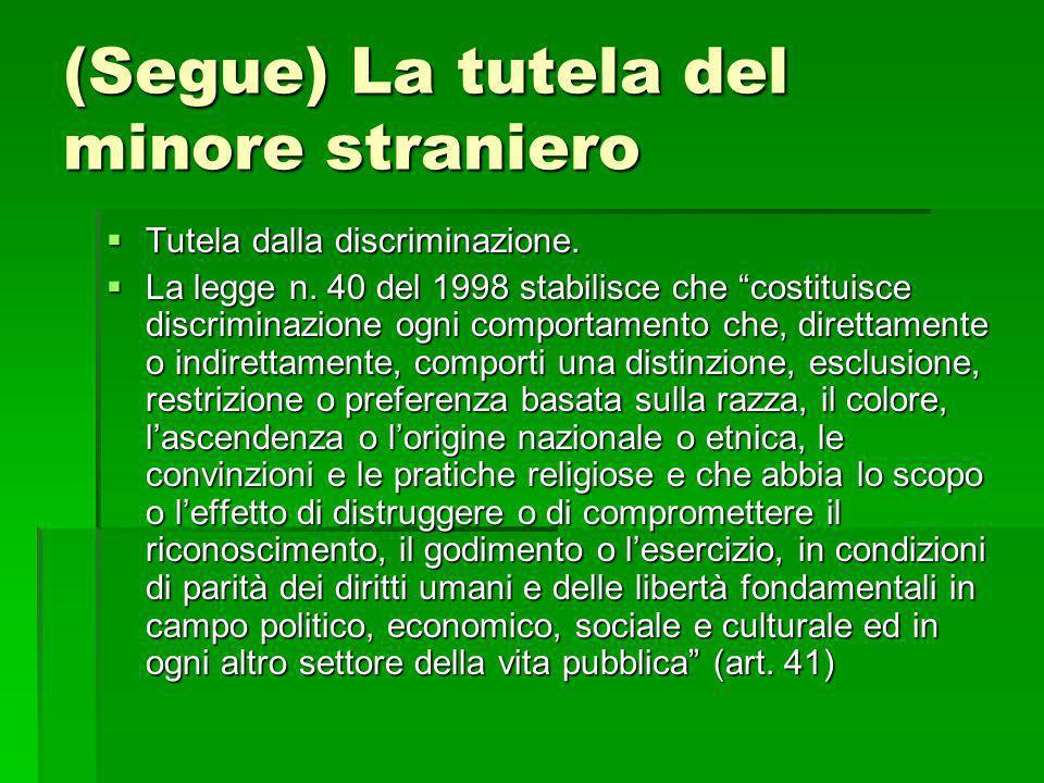 (Segue) La tutela del minore straniero Tutela dalla discriminazione. Tutela dalla discriminazione. La legge n. 40 del 1998 stabilisce che costituisce