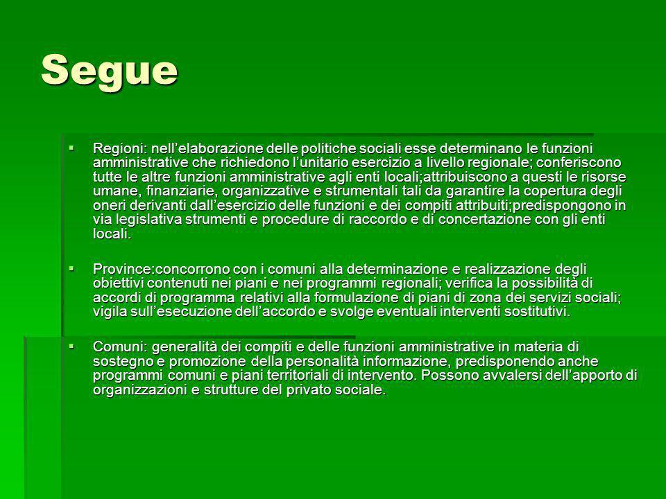 Segue Regioni: nellelaborazione delle politiche sociali esse determinano le funzioni amministrative che richiedono lunitario esercizio a livello regio