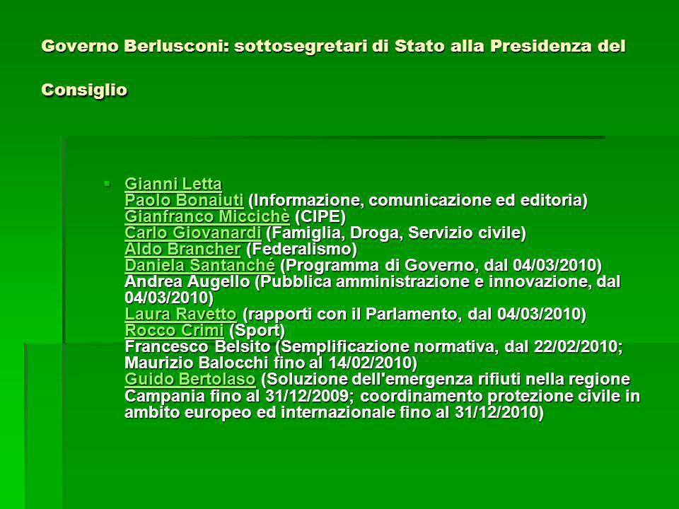 Governo Berlusconi: sottosegretari di Stato alla Presidenza del Consiglio Gianni Letta Paolo Bonaiuti (Informazione, comunicazione ed editoria) Gianfr