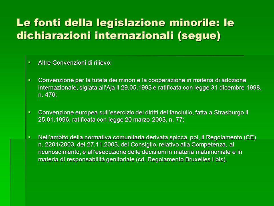 Le fonti della legislazione minorile: le dichiarazioni internazionali (segue) Altre Convenzioni di rilievo: Altre Convenzioni di rilievo: Convenzione