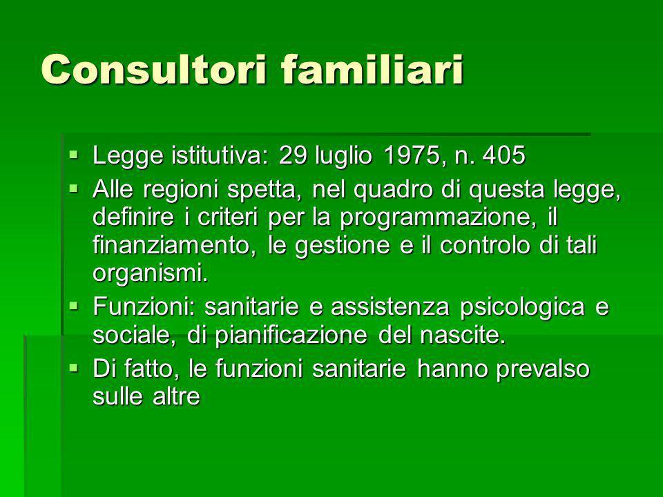 Consultori familiari Legge istitutiva: 29 luglio 1975, n. 405 Legge istitutiva: 29 luglio 1975, n. 405 Alle regioni spetta, nel quadro di questa legge