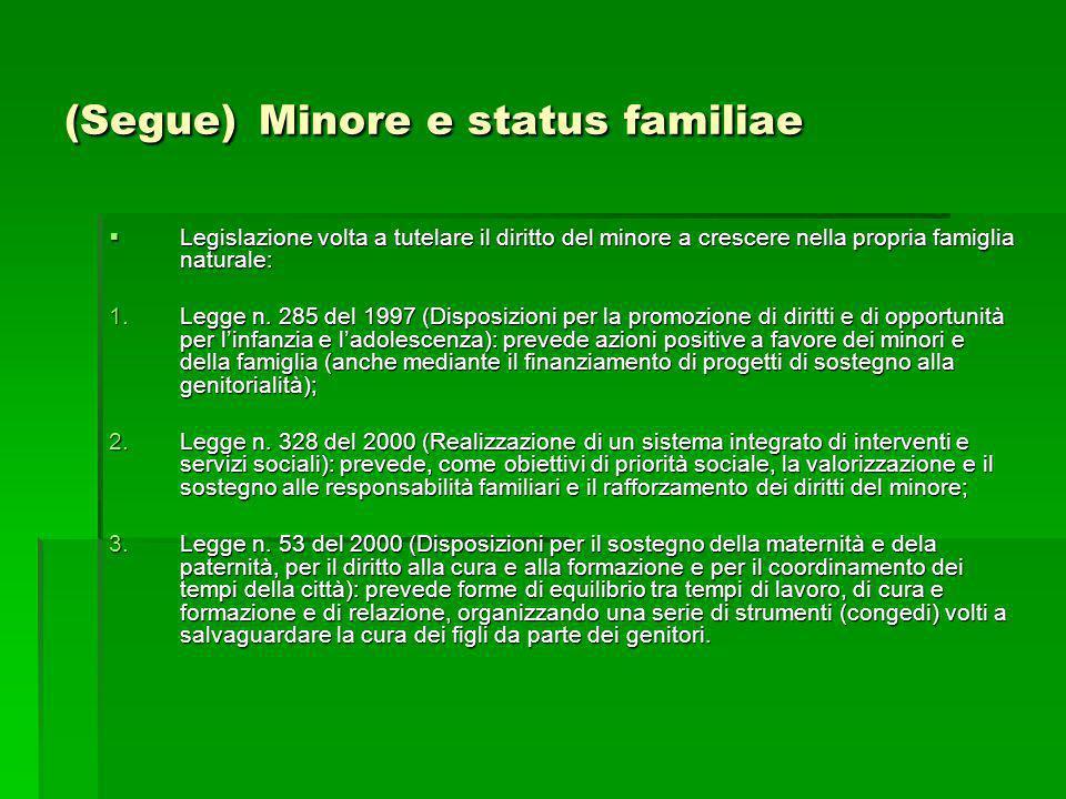 (Segue) Minore e status familiae Legislazione volta a tutelare il diritto del minore a crescere nella propria famiglia naturale: Legislazione volta a
