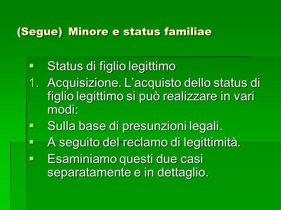 (Segue) Minore e status familiae Status di figlio legittimo Status di figlio legittimo 1.Acquisizione. Lacquisto dello status di figlio legittimo si p