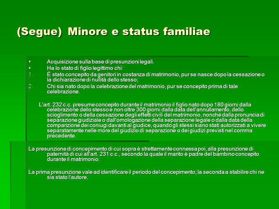 (Segue) Minore e status familiae Acquisizione sulla base di presunzioni legali. Acquisizione sulla base di presunzioni legali. Ha lo stato di figlio l
